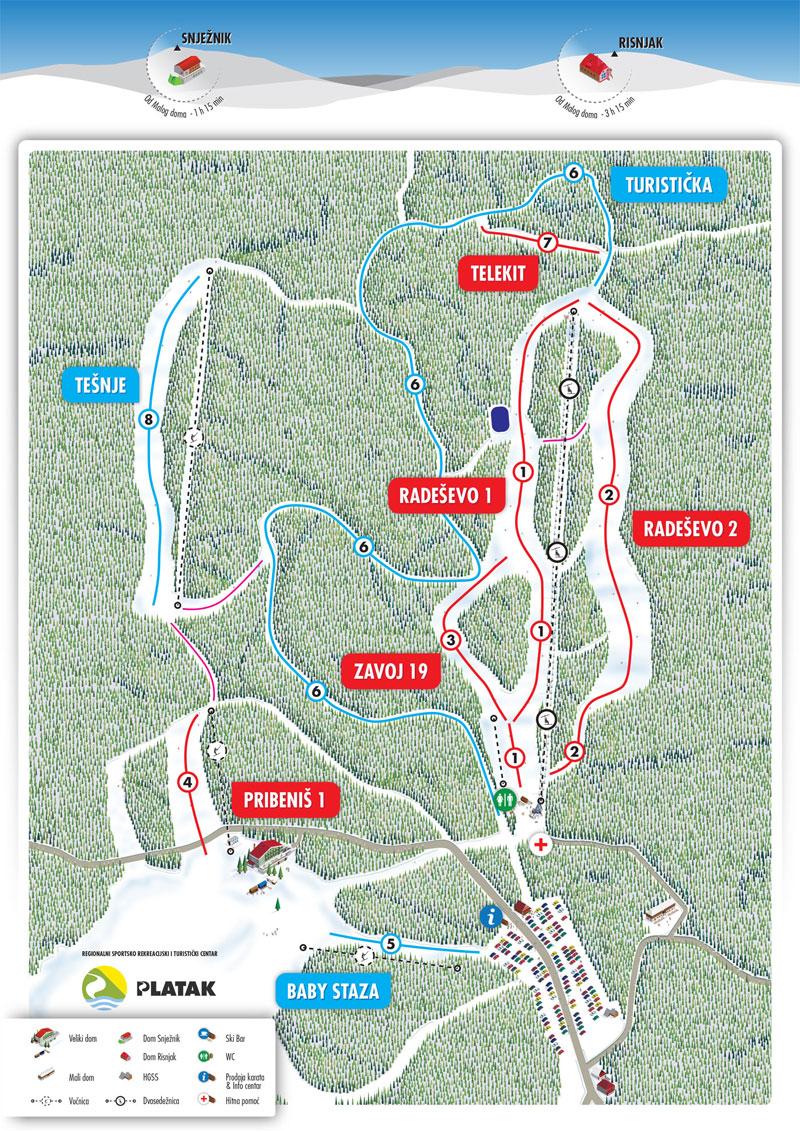 План-схема трасс горнолыжного центра Платак