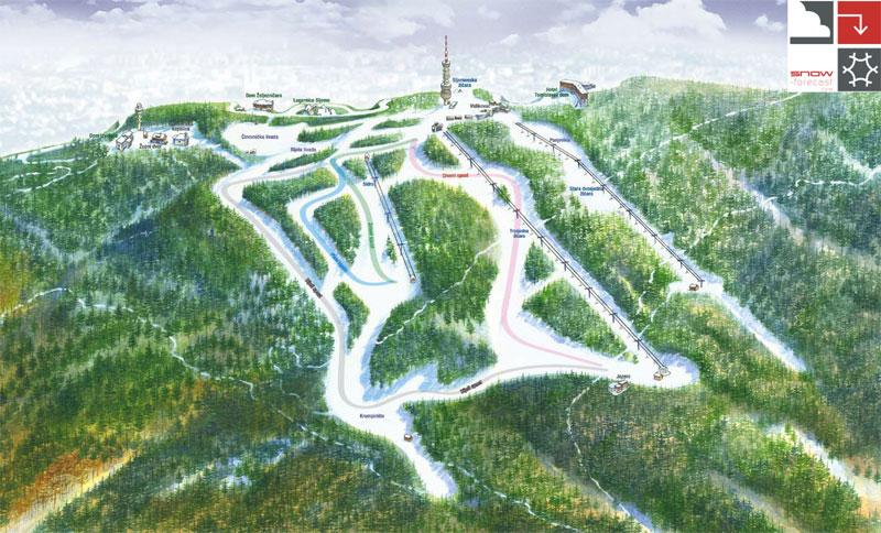 План-схема трасс горнолыжного центра Слеме